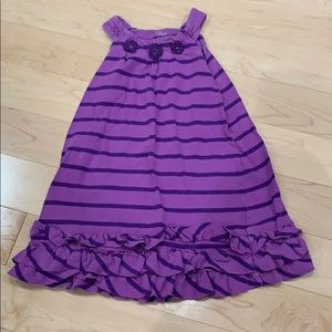 Purple striped dress with ruffles